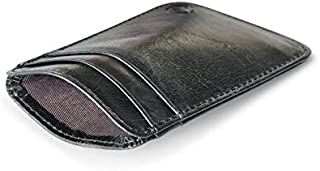 Men Women Mini Slim Pocket Wallet Thin Credit Card Holder Real Leather Black
