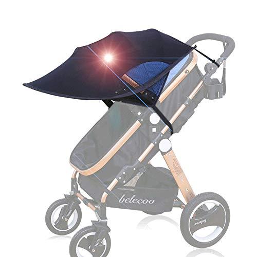 MHOYI Toldo Protector Solar Universal para Cochecitos Capazos Carrito de Bebé Sillas de Paseo Sombrilla Parasol Protección UV (Negro 1)