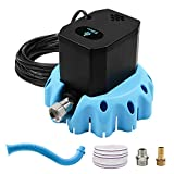 EDOU Automatic Swimming Pool Cover Pump Submersible Water Pump, 1200 GPH,1/6-HP,110V,Including 16' Drainage Hose,Hose Replacement Attachment and 3 Adapters,Ideal for Water Removal,Blue