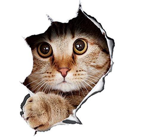Shop of Wonder© │ Katze aus dem Loch │ süßer Aufkleber für Ihr Fahrzeug, WC Sitz oder Wand │ 13cm x 18cm
