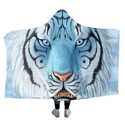 """Couverture à Capuchon Série Tiger Pattern,Couverture en Laine Sherpa pour Adulte Enfant Couverture D'espace Confortable avec Capuche Canapé-lit Jeter (Style 3, 60""""x80"""")"""
