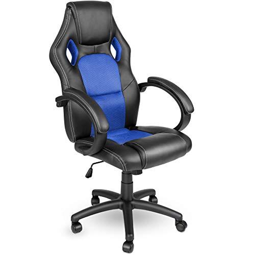 Racing Chefsessel Bürostuhl Drehstuhl 14 Farbvarianten, gepolsterte Armlehnen, Wippmechanik, Lift SGS geprüft (schwarz/blau)