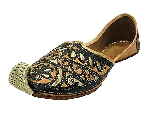 Stop n Style Black Jutti for Men's Mens Mojari Indian Shoes Handmade Shoes Khussa Shoes Sherwani Shoes