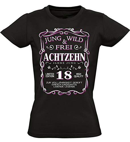 Geburtstags Shirt: 18 Jahre Jung Wild & Frei - Jahrgang 2002 - Achtzehn-TER Geburtstag T-Shirt - Geschenk zum 18. - Damen - Frau - Frauen - Mädchen - Freundin - Birthday - Tailliert (L)