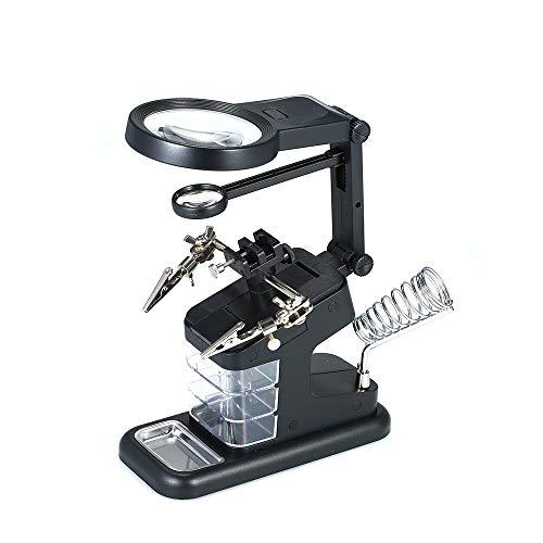 Lupa Soldador Soldadura Mesa con 3 lente,Pinzas,luz led Ajustable,lupas de aumento sobremesa pinza cocodrilo 3X/4.5X/25X,Placa de circuito Reparación,Soporte de soldadura,USB/Batería