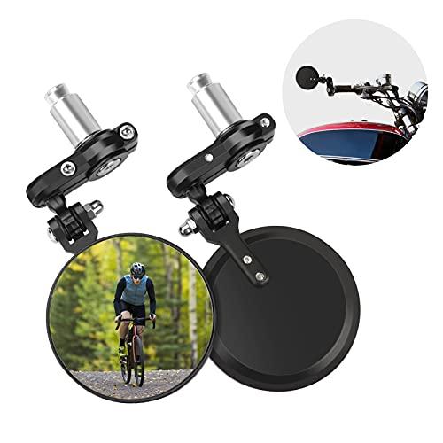 icyant Specchietto retrovisore al manubrio modificato per moto da 2 pezzi, specchietti convessi per manubrio universali per la maggior parte delle Harley Davidson, Suzuki, Honda, moto sportive