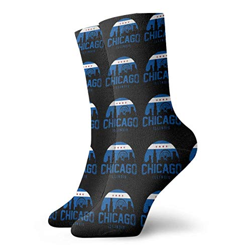 QUEMIN Chicago City Flag Skyline USA Crew Calcetines Calcetines tobilleros para hombres y mujeres transpirables 30 cm