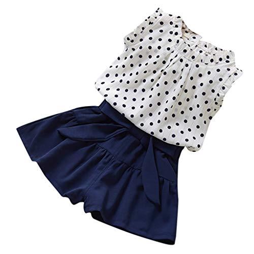 Moneycom❤Enfants Fille Dot sans Manches Veste t-Shirt Couleur Pure Frenulum Shorts Costume Bleu foncé(4-5 Ans)