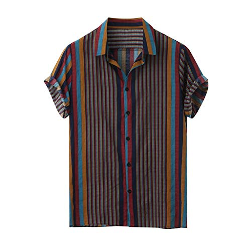 Mens Short Sleeve Shirts Printed Color Stripe Button Down High Low Hem Loose Casual Pullover Tees Hawaiian Beach Sports Running T-Shirt Tops (XXL, Multicolor C)