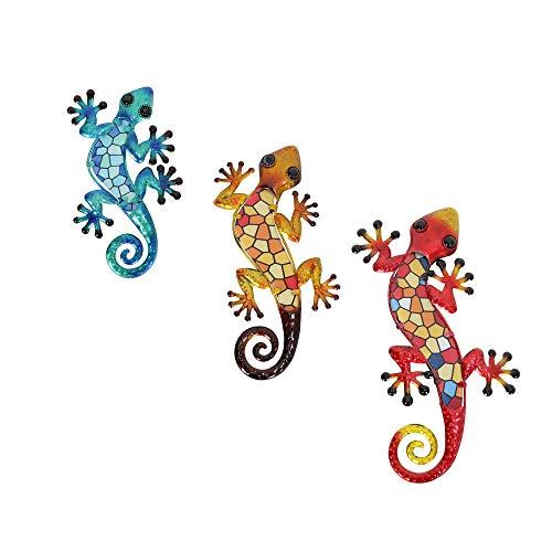 HONGLAND Gecko - Juego de 3 piezas para decoración de pared, diseño de lagarto, decoración para el hogar, jardín, valla