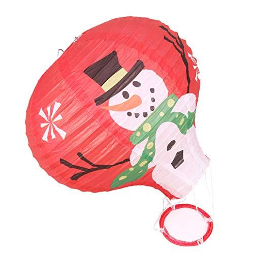 Uonlytech Weihnachten Heißluftballon Schneemann Muster Papierlaterne hängen faltbare Wunschlaterne für Weihnachten Wohnkultur 30cm