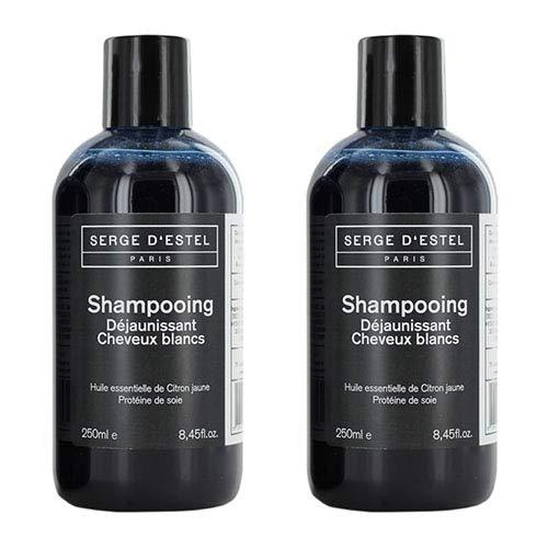 Shampooing Bleu Déjaunissant Cheveux Blancs Gris 250ml x2. Ravive la couleur du cheveu. Shampoing bleu Shampoing Déjaunisseur Fabriqué à Paris Non Testés sur les Animaux. Shampoing Silver.