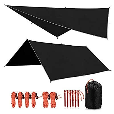 REDCAMP Hammock Rain Fly Waterproof and Lightweight, 10ft Tent Tarp for Camping Backpacking Hiking, Black