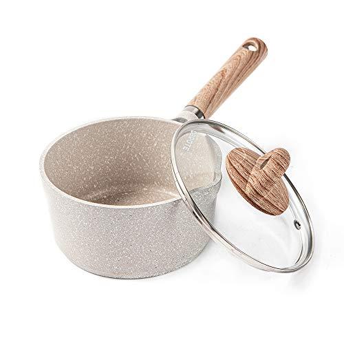 CAROTE片手鍋16cm IH対応ミルクパン マーブルコーティング 蓋付き 焦げ付きにくく洗いやすい 一人鍋 揚げ物 煮物 1年保証 クリーム色 オール熱源対応 COSY (16cm)