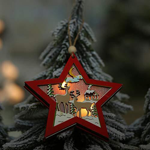 Kerstdecoratie voor thuis Wood Xmas Deer Merry Christmas Tree Decoraties WSJKHY Star zonder batterij.