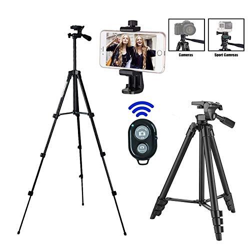 Handy Stativ,Stativ Smartphone,iPhone Stativ mit Handy Halterung und Bluetooth Fernbedienung Kamera Stativ für iPhone Samsung und Kamera