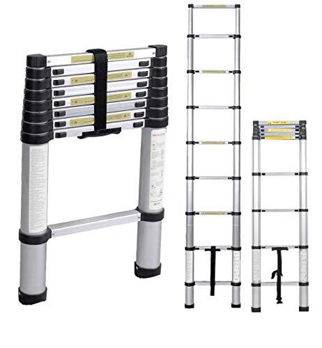 sogesfurniture 2.6M Escalera Telescópica de Aluminio, Escalera de sxtensión - Escalera multifunción Extensible con 8 Escalones Antideslizantes, Capacidad de 100kg, BHEU-KS-MS-002