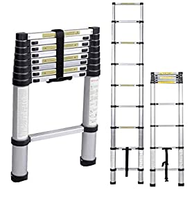 sogesfurniture 2.6M Escalera Telescópica de Aluminio, Escalera Plegable - Multi-propósito Extensible Escalera con 8 Escalones Antideslizantes, Capacidad de 100kg, BHEU-KS-MS-002