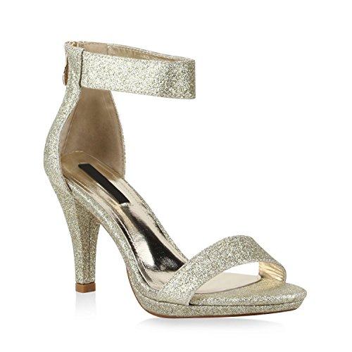 Damen Lack Sandaletten Stiletto Sandalen Strass Party Sommer Riemchensandaletten T-Strap Schuhe 110392 Gold Bernice 36 Flandell