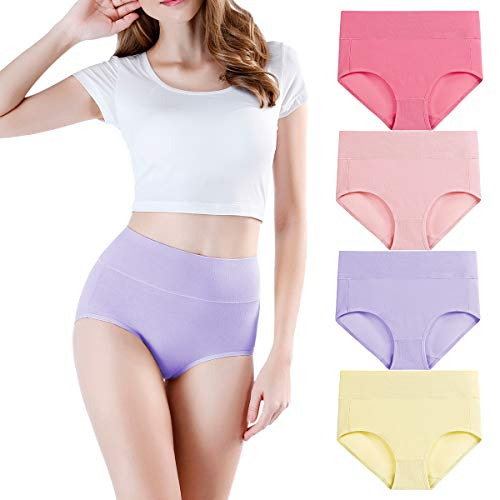 wirarpa Damen Unterwäsche Baumwolle Baumwollunterhosen Wöchnerinnen Slip High Waist Taillenslip 4er Pack Größe XL