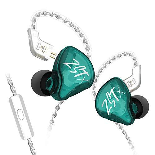 KZ ZST X Headset 1BA + 1DD Tecnología híbrida Unidad HiFi Bass Sports DJ Auriculares Auriculares internos (con micrófono, Cian)