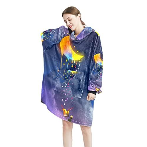 Cielo estrellado día y noche Hombre mujer manta/sudadera con capucha casual manga larga sudadera con bolsillos talla única, Color-1, Talla única