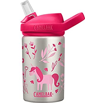 CamelBak Eddy+ Kids Water Bottle Stainless Steel with Straw Cap 14 oz Unicorn & Blooms - Spill-Proof When Open Leak-Proof When Closed Model Number  2305104040