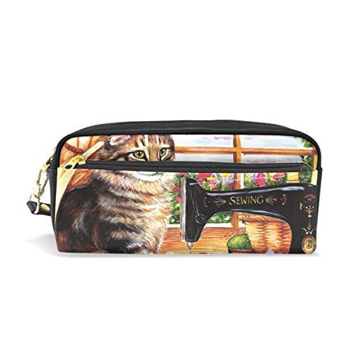 Eslifey Katzen-Schneidertasche für Damen, Make-up, PU-Leder, Kosmetiktasche, für die Schule, tragbar, Stifthalter