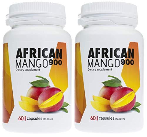 AFRICAN MANGO Premium Schlankheitsmittel, 2er Pack 2x900mg hochdosierter Mangoextrakt, enorme Fettverbrennung, idealer Fatburner, Appetitzügler, erzeugt Sättigungsgefühl, 120 Kapseln