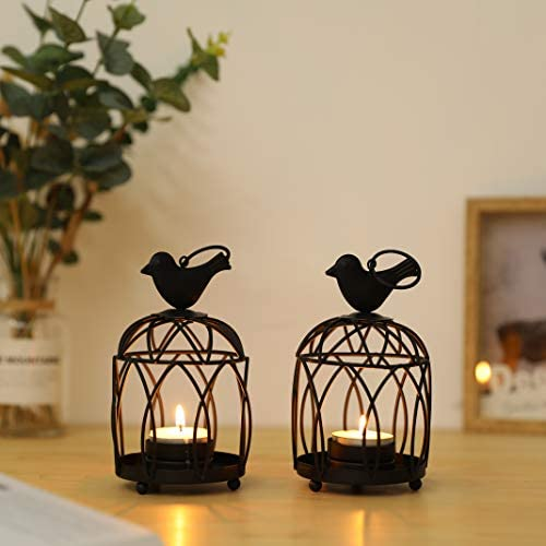 JHY DESIGN 2 Pack Bird Top Small Metal Candlestick Holder Hanging Birdcage Tealight Lantern product image