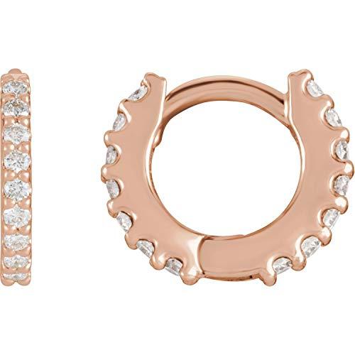 Orecchini a cerchio in oro 14 carati con diamante naturale da 1/4 CTW e Oro bianco, cod. 87161:6000:P