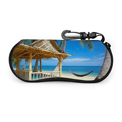 AEMAPE Estuche para gafas Holiday Seaside Unisex Portátil Neopreno Cremallera Gafas de sol Estuche blando