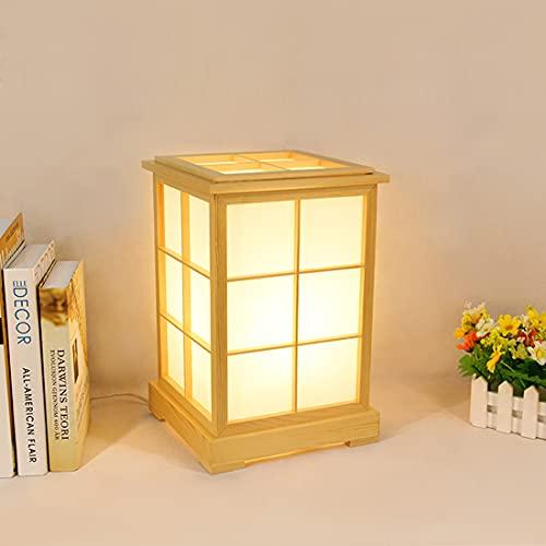 LANMOU Holz Tischlampe E27, LED Nachttischlampe Augenschutz, Japanischen Stil Kiefer Tischleuchte Mit Papier Lampenschirm, Modern Stehlampe Dekoration für Innen, Schlafzimmer, Wohnzimmer,Warm light