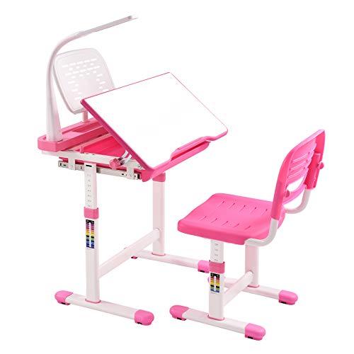 Kinderschreibtisch höhenverstellbar, Kinderschreibtisch und Stuhl Set - Schülerschreibtisch Jugendschreibtisch mit Lampe, Kindertisch Schreibtisch Kinder mit Stuhl und Schublade (Rosa)