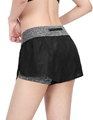 DISHANG Damen 2-in-1 Yoga-/Sport-Shorts für Workout/Laufen, Kurze Hose, schnell trocknend, mit Reißverschluss-Tasche hinten (Schwarz, M)