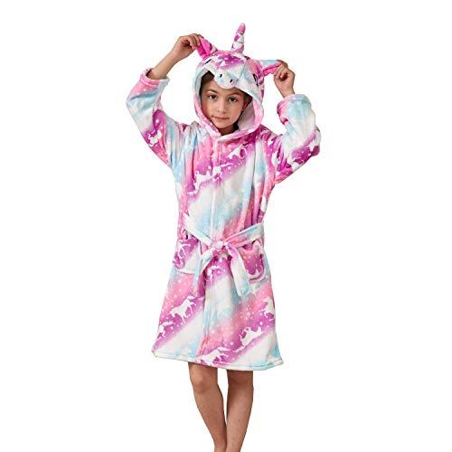 Msrlassn Kinder Weiches Einhorn Kapuzen Bademantel Nachtwäsche - Einhorn Geschenke für Mädchen (Pink Galaxy Einhörner, 8-9 Jahre)