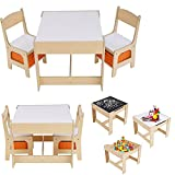3-in-1 Kindertisch- und Stuhlset, Zeichenschreibspieltisch mit 2 Stühlen und Schubladen, 3-teiliges Kindermöbelset / Holzfarbe