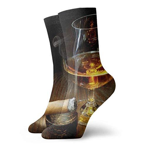 Kevin-Shop Cigar Whiskey Cup Kompressionsstrümpfe Fun Casual Crew Socken, dünne Socken Kurzer Knöchel für Outdoor, Athletic Moisture Wicking