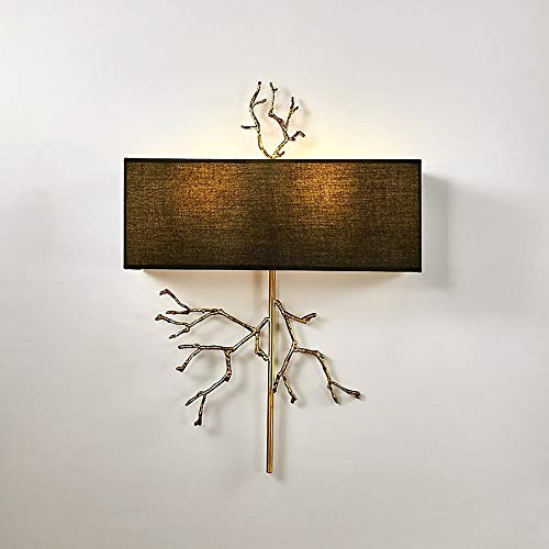 BDwantan Lámpara de pared de rama/Hotel Clubhouse Villa de tela de cobre/lámpara decorativa creativa para el hogar sala de estar o mesita de noche