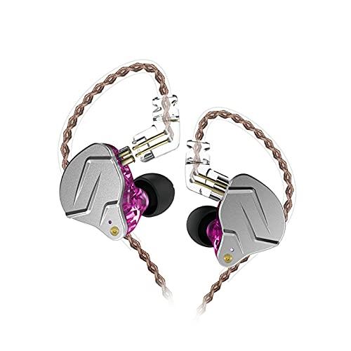 Auleset KZ-ZSNpro Doble Dinámico 2Pin Plug Ear Hook In-Ear Stereo Music Wired Auriculares - Púrpura Con Micrófono