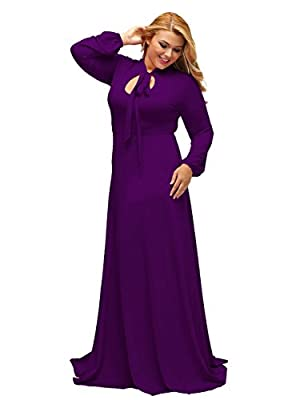 Lalagen Women's Vintage Long Sleeve Plus Size Evening Party Maxi Dress Gown