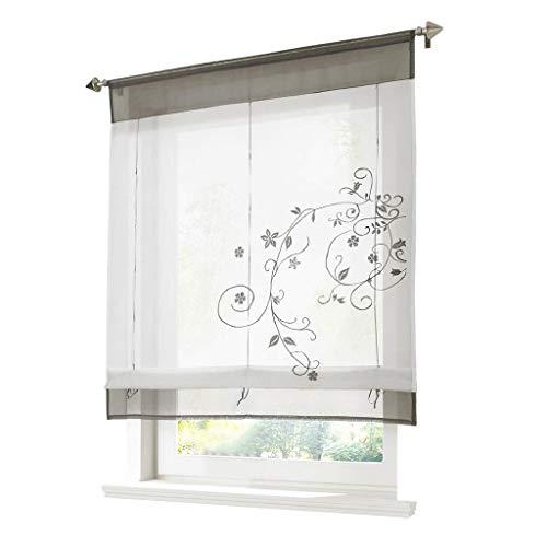 ESLIR Raffrollo Weiß Raffgardine Transparent Vorhänge küche Gardinen Bändchenrollo Tunnelzug Bestickt Voile Grau BxH 60x120cm 1 Stück
