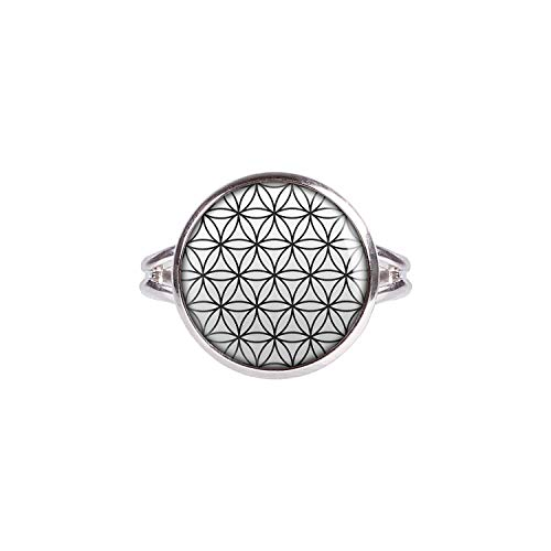 Mylery Ring with Cabochon Picture Life Flower of Life Black and White Silver 0.55 inch