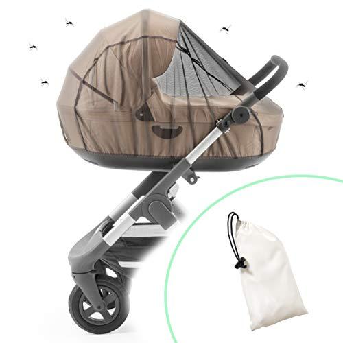 ecolly Zanzariera universale per passeggino, carrozzina e ovetto, rete anti-strappo e traspirante, con elastico, sacchetto incluso, colore nero