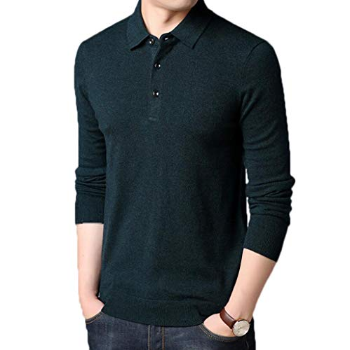 PFSYR Business-Casual-Pullover, warmes Shirt mit V-Ausschnitt, V-Ausschnitt, Herren Langarm-Pullover, Pullover mit Rundhalsausschnitt (Farbe : Green, größe : M)