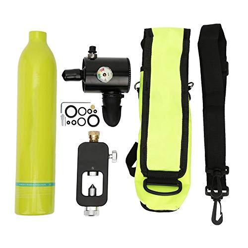 Focket Tanque de Buceo Portátil, 0.5L Aviación de Aluminio Mini Cilindro de Buceo Tanque de Oxígeno Respirador Subacuático Cilindro de Buceo Kit de Equipo de Buceo Snorkeling con Adaptador (Verde)