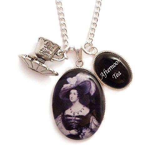 LunarraStar Damen Viktorianisch Anna Russell Afternoon Tea Time Teetasse Anhänger Charm-Halskette aus Versilbert mit Oval Glas