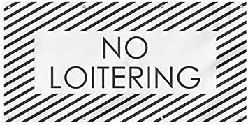 CGSignLab No Loitering 8x4 Stripes White Heavy-Duty Outdoor Vinyl Banner
