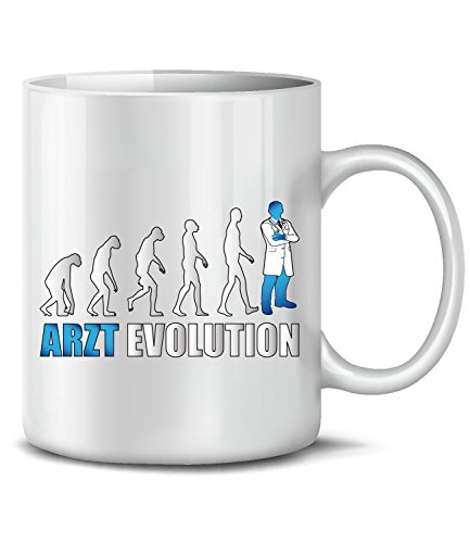 Golebros Arzt Evolution Beruf Kollege Arbeit 4573 Doktor Fun Tasse Becher Kaffeetasse Kaffeebecher Weiss-Blau