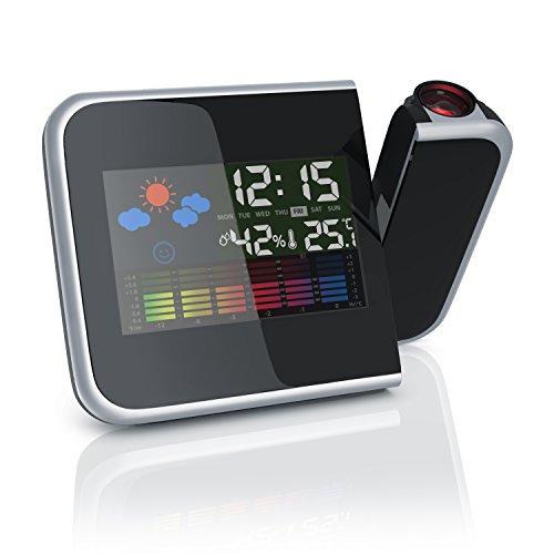 CSL - Projektionswecker mit Temperaturanzeige - Hygrometer Innentemperatur Wecker Uhrzeit- und Datumsanzeige - 3,65 Zoll LCD-Farb-Display - Schwarz